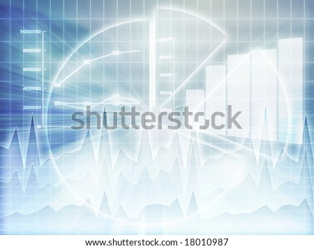 Illustration of Spreadsheet data and business charts in glowing wireframe style