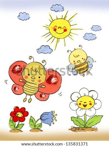 Illustration of spring - stock photo