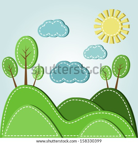 Illustration of spring hilly landscape with clouds, dashed style - stock photo