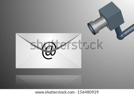 Illustration of spying on emails and internet - stock photo
