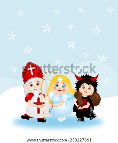 Illustration of St. Nicholas group with winter background