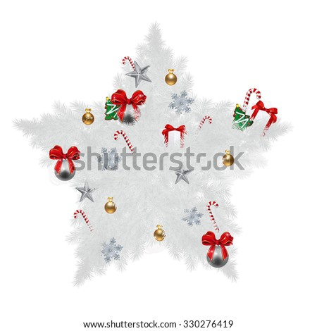 Illustration of Star shaped Christmas pine with various Christmas items (cookies, sugar cane, ribbon,gift boxes) - stock photo