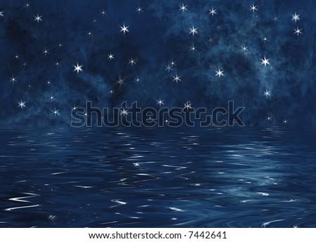 Illustration of stars reflecting on the ocean - stock photo