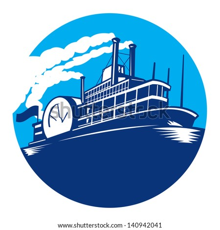 Illustration of steamboat ferry passenger ship vessel sailing set inside circle done in retro style. - stock photo
