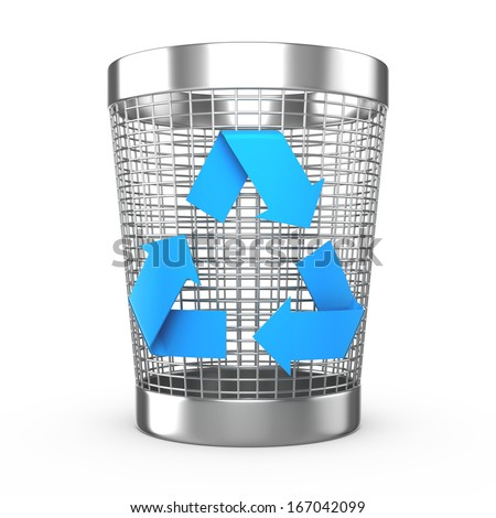 Illustration of steel wastebasket with recycle symbol - stock photo