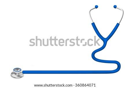Illustration of stethoscope isolated on white background - stock photo