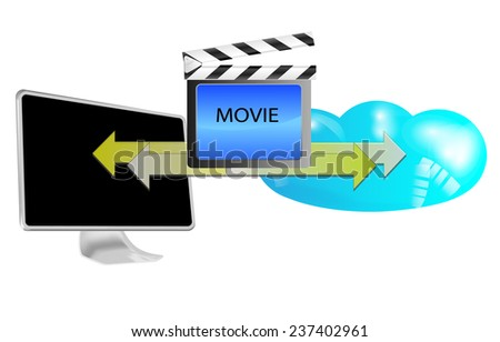 Illustration of streaming movie in cloud isolated on white background - stock photo