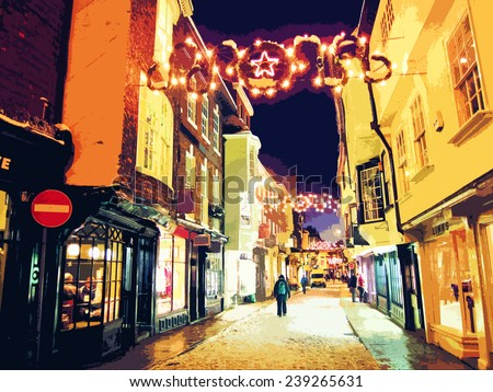 Illustration of street at Christmas.