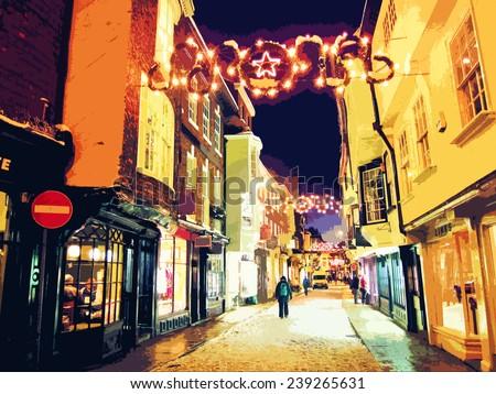 Illustration of street at Christmas. - stock photo