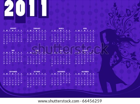 Illustration of style design Calendar for 2011 With sexy girl