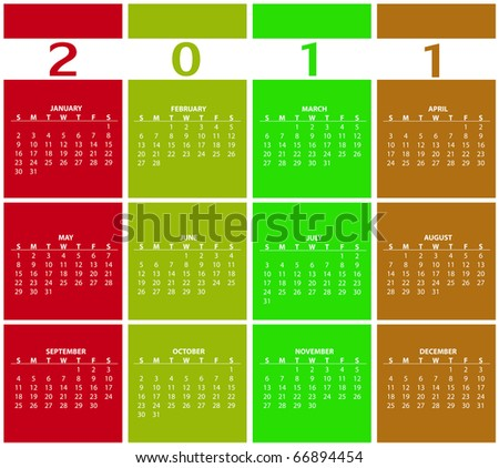 Illustration of style design Colorful Calendar for 2011 - stock photo