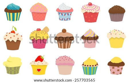 Illustration of 15 styles of cupcakes - stock photo