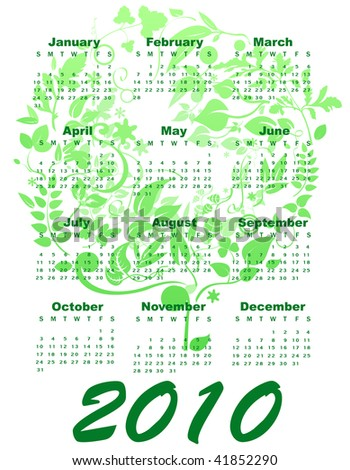 Illustration of stylish design Calendar for 2010