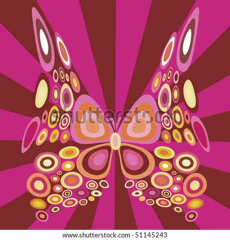 illustration of stylized  butterfly with retro circle shapes design