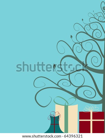 Illustration of stylized christmas tree with presents underneath - stock photo