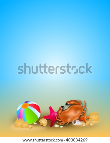 Illustration of summer background with crab and seashells on beach