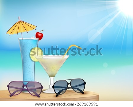 Illustration of Summer beach  with juice, glasses - stock photo