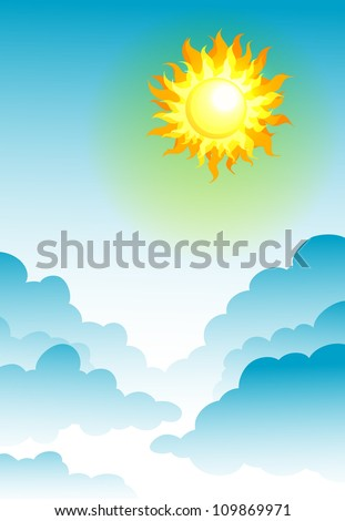 illustration of sun in the blue sky