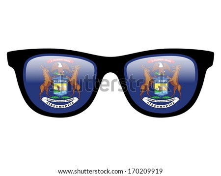 Illustration of sunglasses with flag inside - Michigan - stock photo
