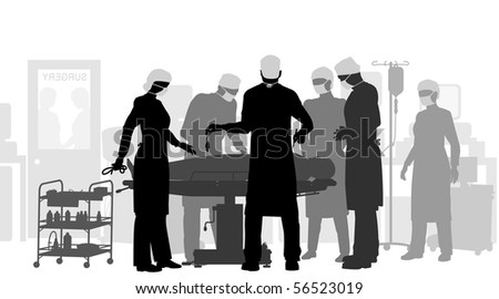 Illustration of surgery in an operating theater - stock photo