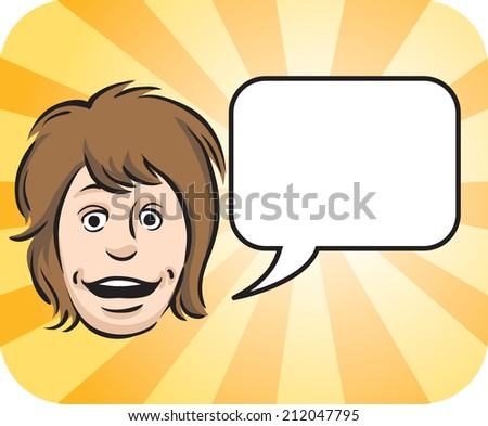 illustration of Surprised face with speech bubble - stock photo