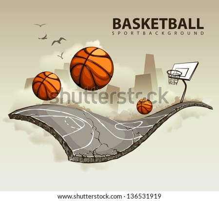 Illustration of surreal basketball court hovering in the sky. - stock photo