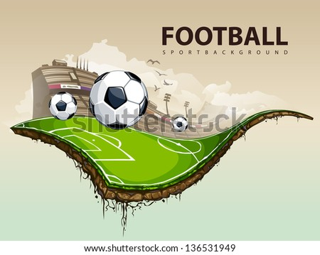Illustration of surreal soccer field hovering in the sky. - stock photo