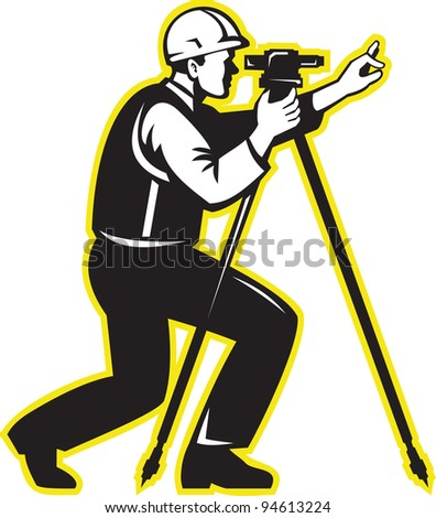 Illustration of surveyor civil geodetic engineer worker with theodolite total station equipment done in retro woodcut style. - stock photo