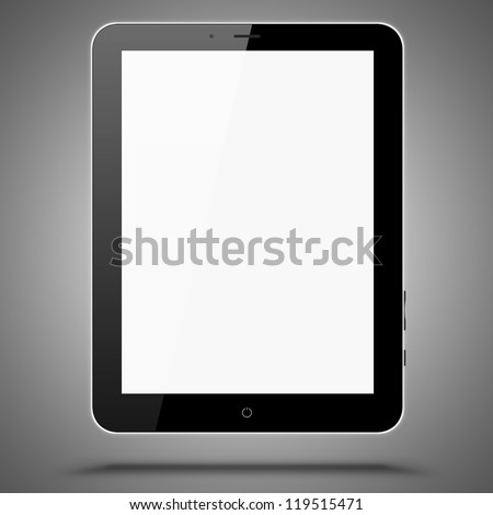 Illustration of tablet same with ipade computer on grey background - stock photo