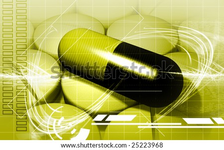 Illustration of tablets and capsule with colour background