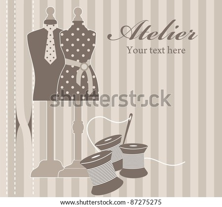 Illustration of tailor with mannequins - stock photo