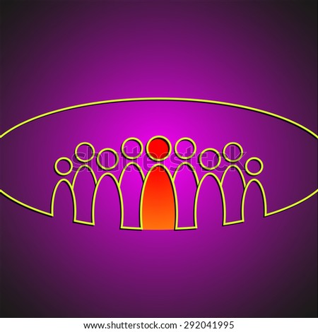 Illustration of team of people with a leader. Leadership business concept - stock photo