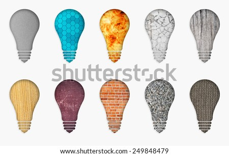illustration of ten different bulbs. Set of abstract lamp on a white background. Ten bulbs of different materials - stock photo