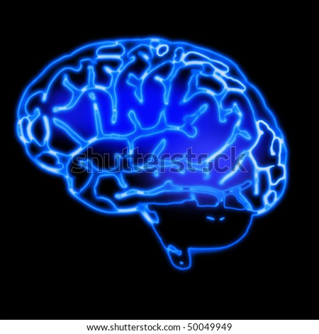illustration of the abstract blue brain
