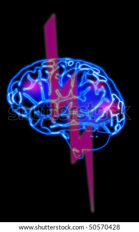 illustration of the abstract blue brain - stock photo