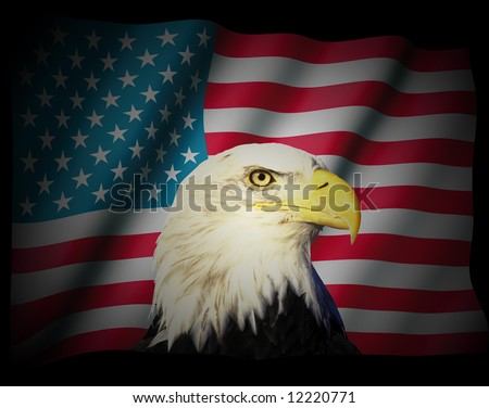 Illustration of the american flag and eagle