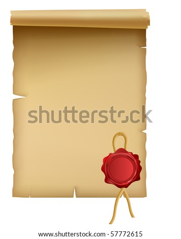 Illustration of the ancient parchment isolated over white - stock photo