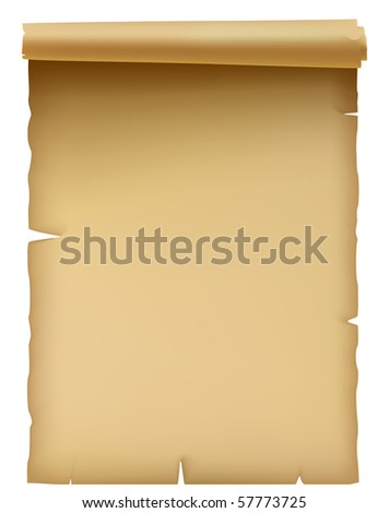 Illustration of the ancient parchment isolated over white