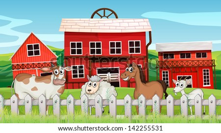 Illustration of the animals inside the fence - stock photo