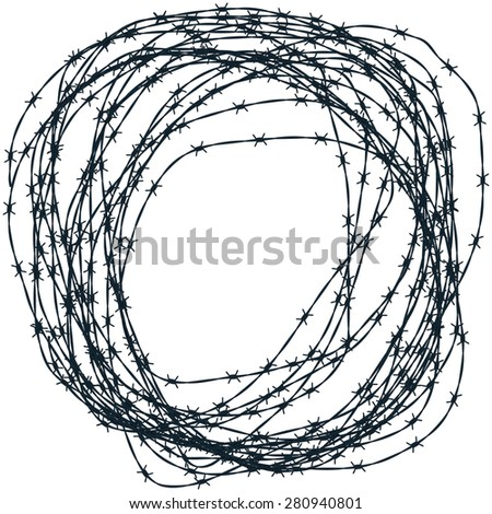 Illustration of the barbed wire clew - stock photo