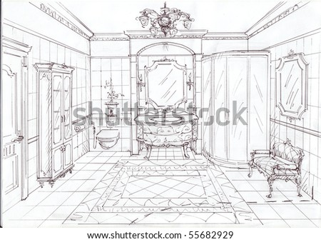 illustration of the bathroom made by pencil