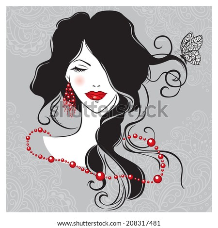 Illustration of the beautiful girl with the long dark hair - stock photo