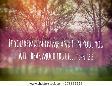 Illustration of the Biblical phrase of John 15,5 Gospel: If you remain in Me, and I in you, you will bear much fruit - stock photo