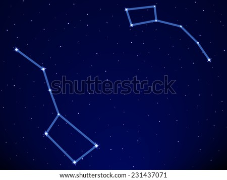 Illustration of the Big Dipper and Little Dipper constellation on starry sky background - stock photo
