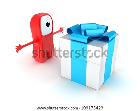 Illustration of the big gift with a tape near the person - stock photo