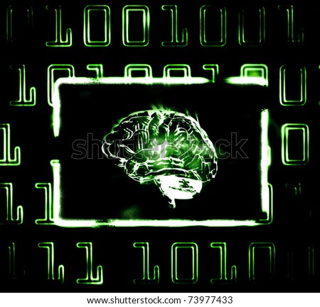 illustration of the binary code and brain on abstract screen - stock photo