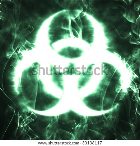 illustration of the biohazard sign and smoke - stock photo
