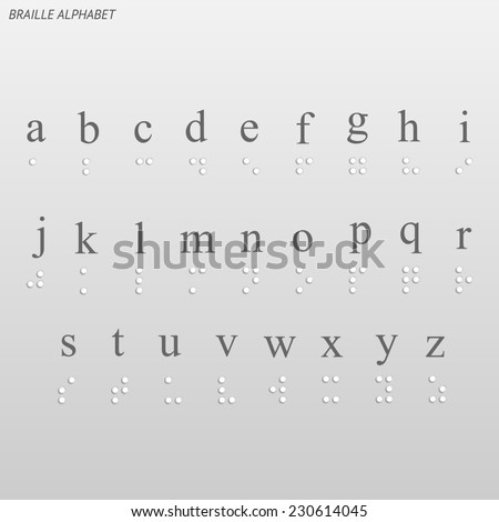 Illustration of the braille alphabet on a light background. - stock photo