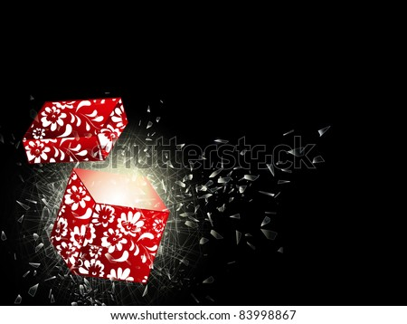 illustration of the broken glass and opened gift box, copyspace for your text - stock photo