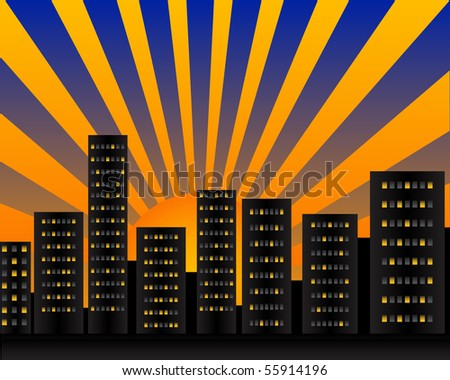 Illustration of the city at dawn with big sun - stock photo